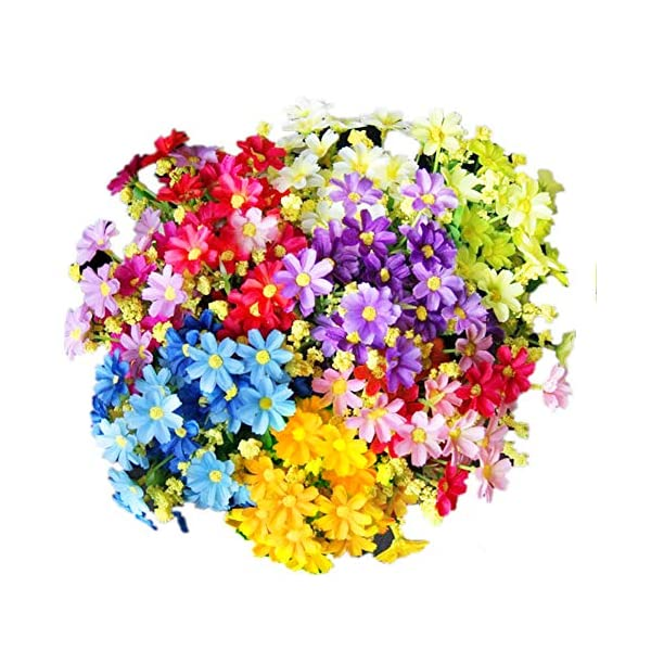 Margaritas Artificiales Decoracion, realista falso hermoso blanco margarita, rosa púrpura, amarillo, azul para la boda…