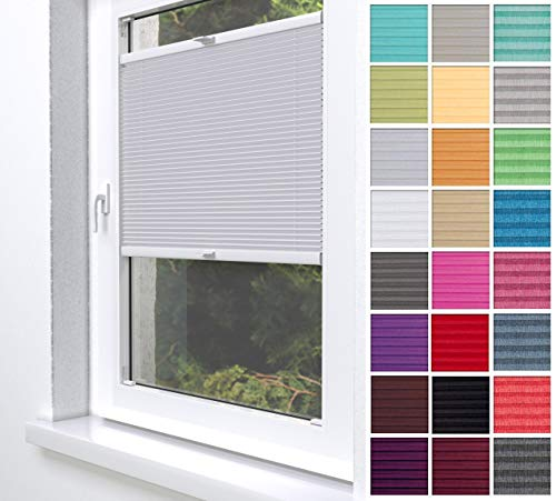 Home-Vision® Premium Plissee Faltrollo ohne Bohren zum Kleben Innenrahmen Blickdicht Sonnenschutz Jalousie für Fenster & Tür (Silber, B75 x H150cm)