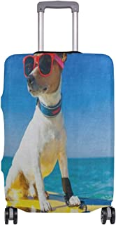 Suitcase Cover Cool Dog Surfing On Surfboard Wearing Sunglasses Luggage Cover Travel Case Bag Protector for Kid Girls