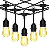 LED String Lights Outdoor 50FT Commercial Grade Waterrproof Strand LED Bulbs 15 Hanging Sockets, UL Listed Heavy-Duty Decorative Cafe Patio Lights for Bistro Garden