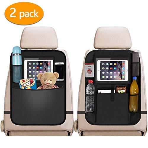 Car Back Seat Organiser 2pcs, 2 Type Waterproof Kick Mats Car Organiser Seat Back Protectors with Multi Pockets Including 10' iPad Tablet Holder