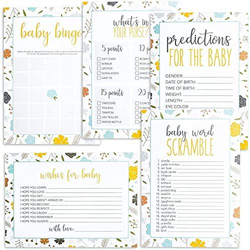 Juegos florales para baby shower – Pack de 5 actividades para revelar el género decoraciones de fiesta (50 cartas cada una, 250 en total)