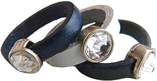 Lederring dunkelblau, weiß oder schwarz mit Zamak Kristall,