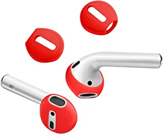 {Fit in The case} DamonLight Airpods Earpods Covers Anti-Slip Silicone Soft Sport Covers Accessories Apple AirPods Earbud airpods eartips 2 Pairs (Spicy Red)