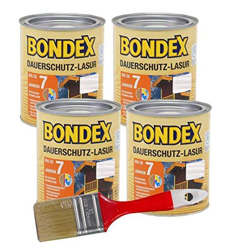 Bondex Dauerschutzlasur 3L (weiß) Gelartige Lösemittelhaltige Tropfgehemmte Lasur zum Hochwertigem und Dauerhaften Holzschutz außen