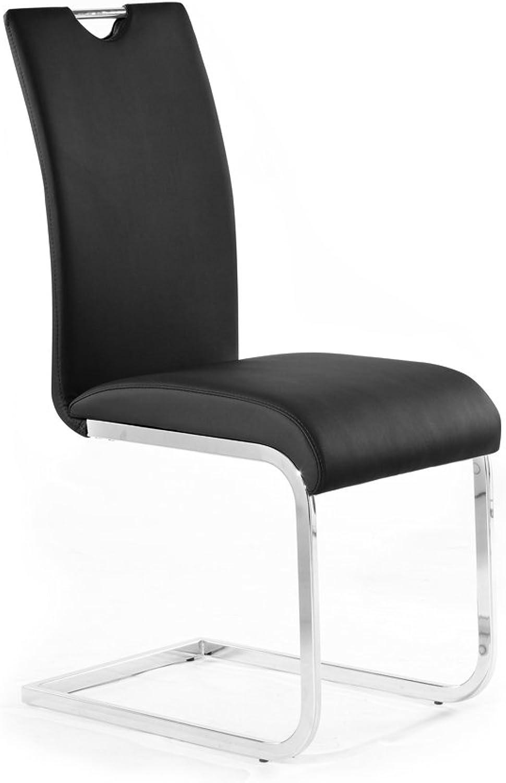 Moebel-eins EDDI Freischwinger Esszimmerstuhl Schwingstuhl Stuhl schwarz, schwarz
