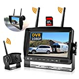Wireless Backup Camera, DOUXURY IP69 Waterproof 170° Wide View Angle HD 1080P Backup Camera + HD LCD 7' Monitor, DVR Recording Backup Camera System for Truck Pickup Trailer Camper Bus RV 5th Wheel