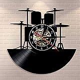 Tambor disco de vinilo reloj de pared banda de música tambor instrumento baterista decoración del hogar reloj de pared regalo único amante de la música rock