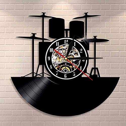 Cwanmh Wanduhr Schlagzeug Kit Schallplatte Wanduhr Musik Band Schlagzeug Instrument Schlagzeuger Home Decoration Wanduhr einzigartige Rockmusik Liebhaber Geschenk 30 x 30 cm