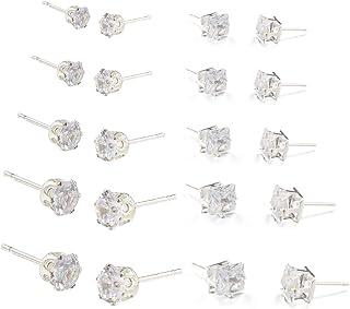 KSQS Stud Earrings Set,Hypoallergenic Zirconia 18K White Gold Plated Multi-Piercing Ears Earrings(10 Pairs)