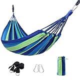 Signstek Hamaca de algodón al Aire Libre (230 x 150 cm), Capacidad de Carga de hasta 300 kg, portátil con Bolsa de Transporte para Patio, jardín, 2 Personas al Aire Libre (Azul)