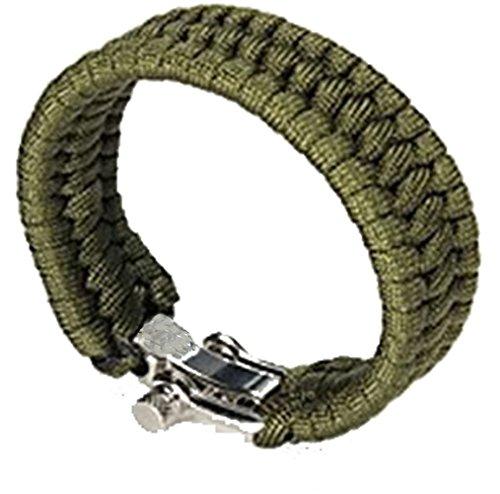 Qingsun Bracelet de Survie cordé avec Fermeture en Acier Inoxydable - Vert Olive Drab