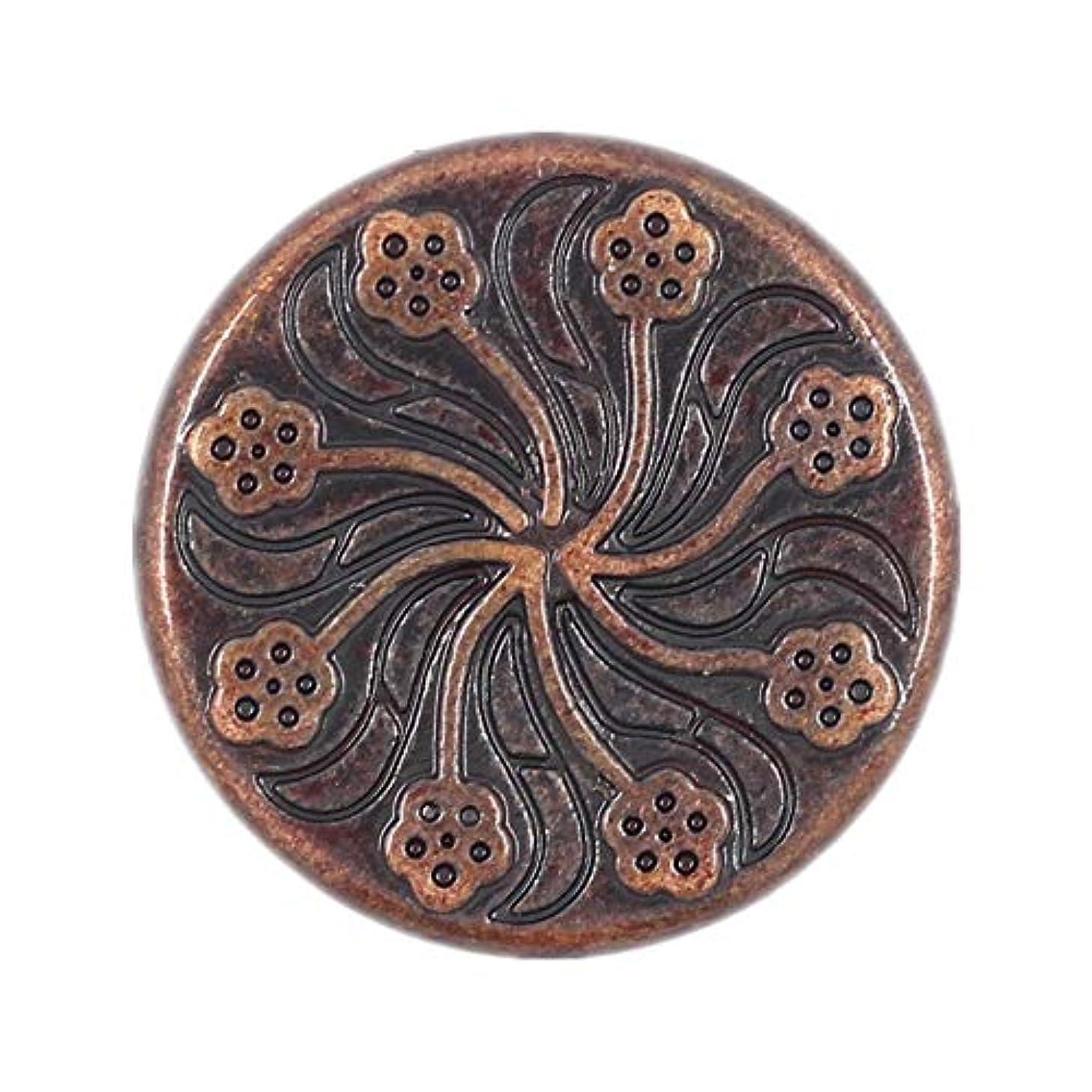 Bezelry 12 Pieces Flower Flourish Dark Copper Color Metal Shank Buttons. 20mm (3/4 inch) (Dark Copper)