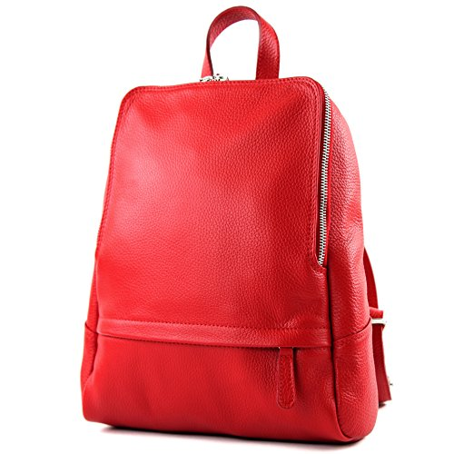 modamoda de - T138 - ital Damen Rucksacktasche aus Leder, Farbe:Rot