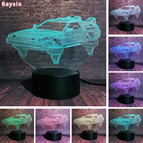 Neues cooles Auto zurück in die Zukunft Teilzeitmaschine DeLorean Fans Weihnachtsspielzeug 3D LED Nachtlicht USB Tischlampe Kinder Geburtstagsgeschenk Nachtdekoration am Bett