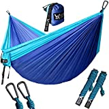 "WINNER OUTFITTERS Double Camping Hammock - Lightweight Nylon Portable Hammock, Best Parachute Double Hammock for Backpacking, Camping, Travel, Beach, Yard. 118""(L) x 78""(W), Sky Blue/Blue Color"