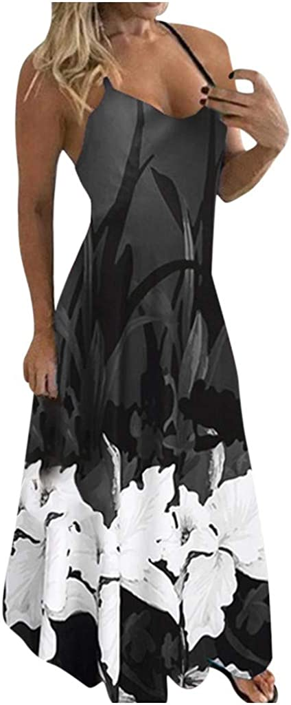 soyienma Dresses for Women,Women's Summer Floral Printed Sexy Sleeveless Casual Party Dress A Line Dress Sundress