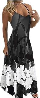 Women Dress,Fudule Womens Fashion O-Neck Floral Printed Dress Ladies Sleeveless Casual Dresses Party Maxi Long Dress