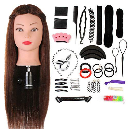 Übungskopf Neverland Beauty 24 Zoll 60% Echthaar Friseur Übungskopf Praxis Schaufensterpuppe Kopf mit Klemme + Hair Styling Braid Set