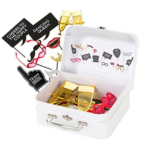 Koffer met foto-rekwisieten, fotoaccessoires, feestaccessoires voor de foto & fotobox op je bruiloft of party- 12-delig