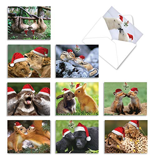 The Best Card Company - 10 Blank Animal Christmas Note Cards - Assorted Bulk Holiday Cards for Kids, Fun Wildlife (4 x 5.12 Inch) - Holiday Animal Smackers M6594XSB