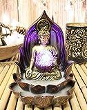 Ebros Meditating Buddha Gautama Amitabha in Varada Mudra in Ohm Lotus Padma Throne Backflow Cone Incense Burner with Colorful LED Light Globe Statue 6' Tall Buddhism Statue Feng Shui Decor Altar