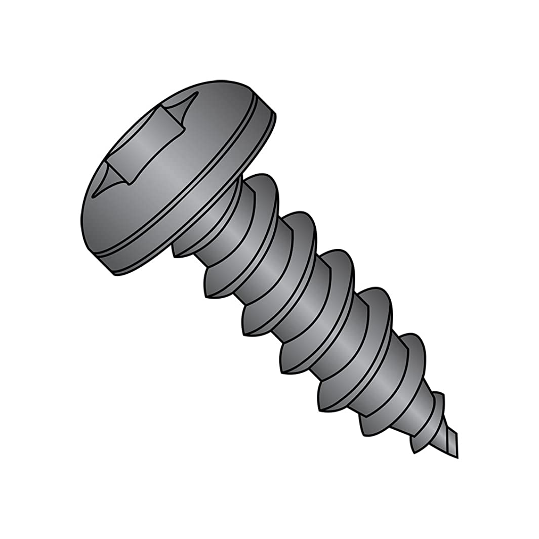 Steel Sheet Metal Screw, Black Oxide Finish, Pan Head, Star Drive, Type AB, #10-16 Thread Size, 1/2