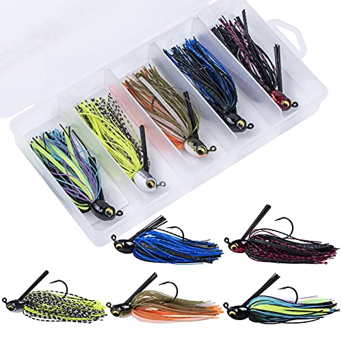 Goture Fishing Jigs - Swim Jigs for Bass Fishing - 3/8oz Bass Jigs Fishing Lures with Weed Guards, MUSTAD Hook, Silicone Skirts, Streamlined Head - 5PCS Swim Bass Jigs with Storage Box