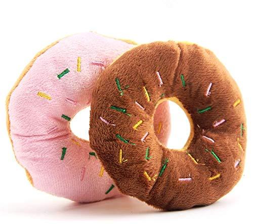 Gouen 1 stuk hond knuffels donuts vorm piepende speelgoed roze bruin zachte knuffels voor hond puppy molaire speelgoed, chocolade, m