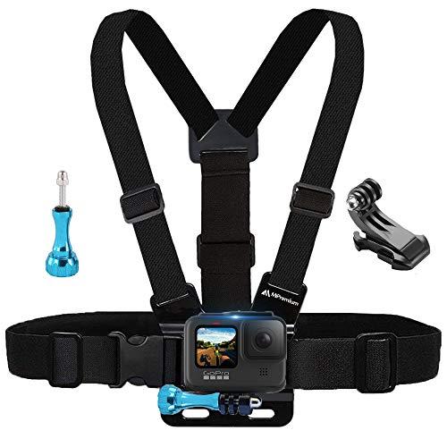 MiPremium Brustgurt kompatibel mit GoPro Hero 8 7 6 5 4 3 3 + 2 Fusion Session Schwarz Silber & AKASO EK7000 Sjcam Sportkameras, Verstellbarer Körpergurt + Jhook & Aluminium Daumenschraube Zubehör
