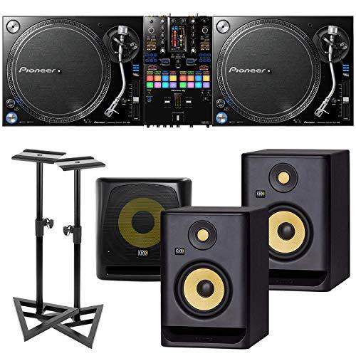 (2) Pioneer DJ PLX 1000 Turntable, Pioneer DJ DJM-S11 Mixer, (2) KRK RP5G4 Monitor, KRK 10S V2 Sub, (2) Monitor Stands Bundle