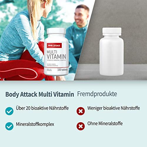Body Attack Multi Vitamin, 200 Tabletten, 2er Pack (2x 140g), Dose - 5