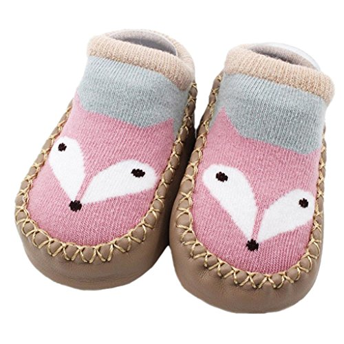 Iuhan Lovely Cartoon Newborn Baby Girls Boys Anti-Slip Socks Slipper Shoes Boots (Age:12-18Months, E)