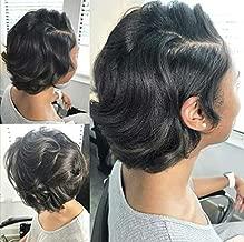 Brazilian Hair Body Wave 4 Bundle Deals Brazilian Virgin Hair Wavy 7A Grade 100% Unprocessed Human Hair Weave Bundles Short Sew In Hair Extensions Natural Black 50g/pc Total 200g (8 8 8 8)