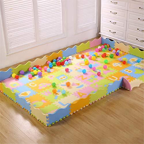 H-ULAN Puzzlematte Mit Zaun Schaumstoffmatte Spielteppich Für Spielzimmer & Kinderzimmer Multicolor Für Baby, Kleinkinder & Kinder,Hell,Light