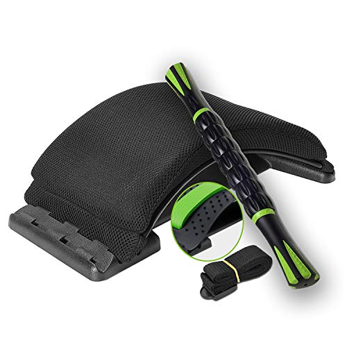 Back Stretcher Cushion Massager for Back Pain Relief & Office/Chair and Muscle Roller Stick for...