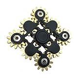 ギアフィジェットハンドスピナージャイロ子供のおもちゃスピナーギアリンケージジャイロおもちゃ9ギア指先ジャイロおもちゃ、フォーカス瞑想は悪い習慣を破る (ブラック)