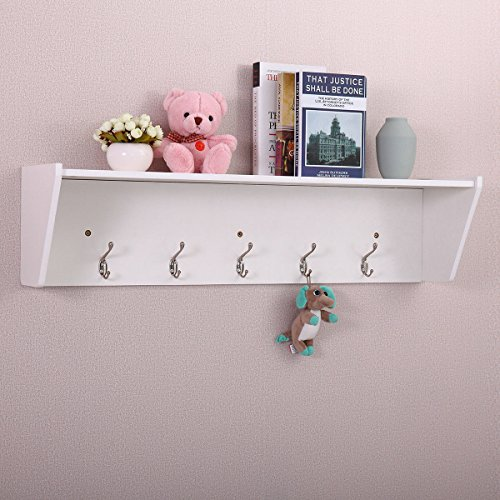 "patcharaporn 37"" Wall Mount Storage Shelf Coat Rack Organizer Entryway Hallway w/5 Hooks White"