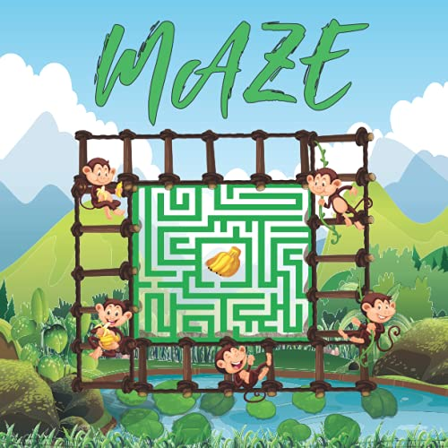 maze: 80 mazes with solutions,maze puzzle book for kids age 8-12 years