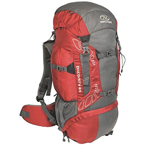 """HIGHLANDER 65 Liter Discovery Rucksack Leichter Wanderrucksack mit wasserdichter Hülle - Ideal zum Wandern, Reisen, Trekking, Camping und """"D of E"""" - Rot"""