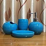 DETZH Bagno in Ceramica Set Accessori Elegante e Unico Texture Insieme compreso Hand Sanitizer Bottle Holder Spazzolino Soap Box collutorio Cup,Blu