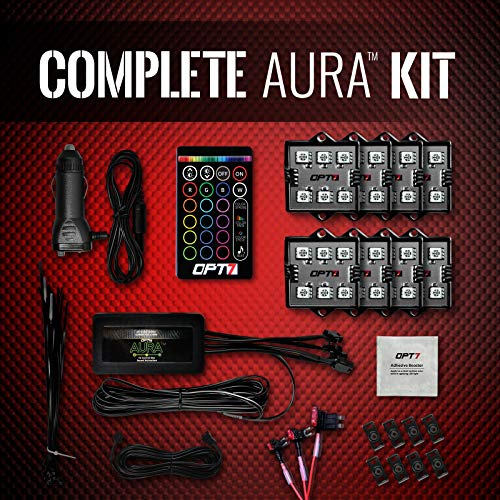 OPT7 AURA 8pc Boat Interior LED Lighting Kit with Multi-Color Light features, Wireless Remote, and Soundsync - 1-Year Warranty