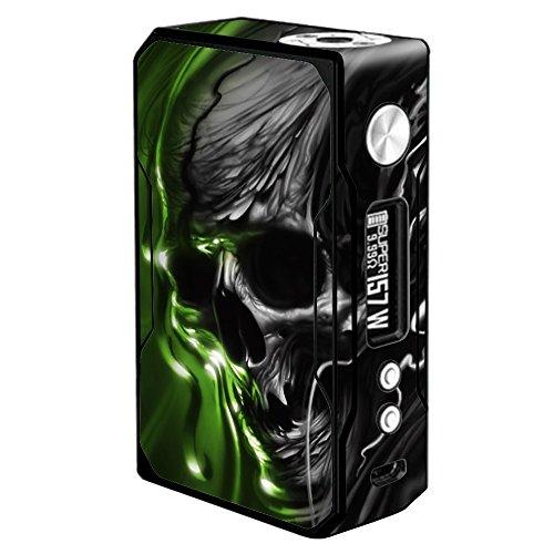 Skin Decal Vinyl Wrap for Voopoo Drag 157W TC Resin/Reg. Vape Mod Stickers Skins Cover/Dark Skull, Skeleton Neon Green