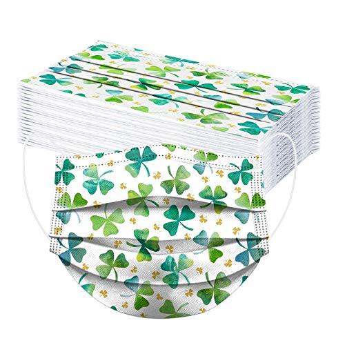 Neu Erwachsene Einweg 3-lagig Mundschutz Masken, Modischer grüner Klee für St. Patrick's Day in Irland Mund und Nasenschutz, Atmungsaktive Bandana Bunt Modegeschmack Halstuch für Männer Frauen