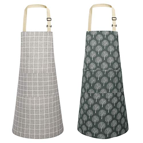 top 10 cooking aprons Joy pair kitchen apron made of cotton and linen, waterproof, adjustable, 2 pairs.  (Thu + checker)