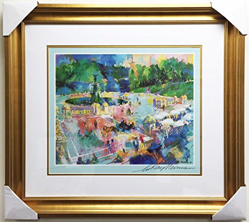 "LEROY NEIMAN ""Bethesda Fountain Newly Custom Framed Hand Signed Lithograph Art"