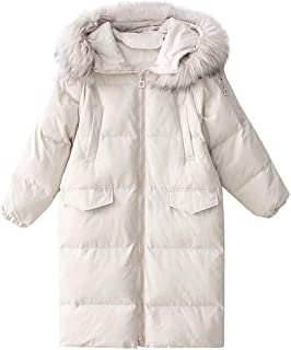 Women's Winter Parka Long Coat Quilted Jacket with Faux Fur Hood Loose Coat Padded Puffer Zip Jacket Solid Color