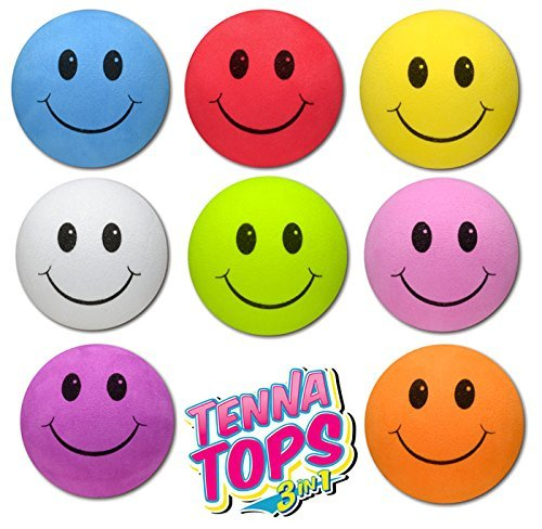 Tenna Tops 8 pcs Pack - Assorted Colors Smiley Car Antenna Toppers/Antenna Balls/Mirror Danglers (Blue, Red, Yellow, White, Green, Pink, Purple, Orange)