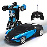 Kossmask Robot RC Car for Kids One-Button Deformation and 360°Rotating Drifting Transformrobot Remote Control Car Gift for Boys and Girls (Blue)