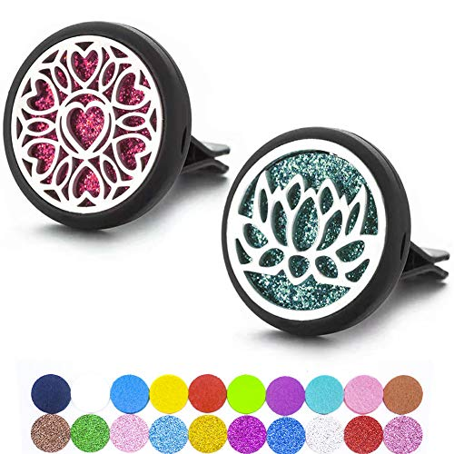 2 Packs Essential Oil Car Diffuser Vent Clips, Aromatherapy Car Diffuser Locket Clip with 10 Shiny Pads and 10 Washable Felt Pads (Heart and Flower)